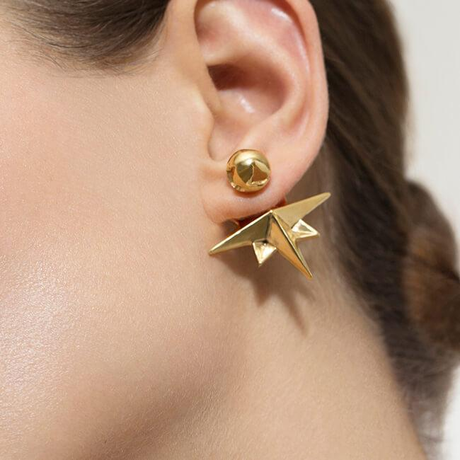 Wearing Compass Earrings by Cristina Ramella