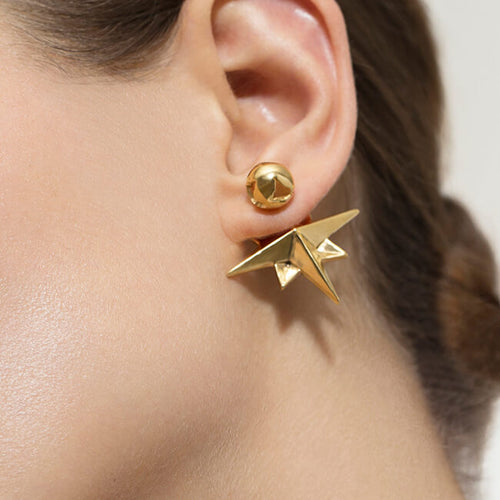 24K Gold Plated Compass Earrings by Cristina Ramella