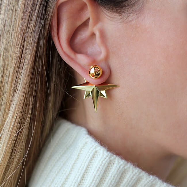 24K Gold Plated Compass Earrings