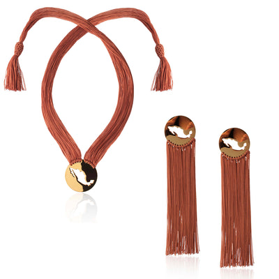 Gracias Mexico Brown Necklace Set by Cristina Ramella