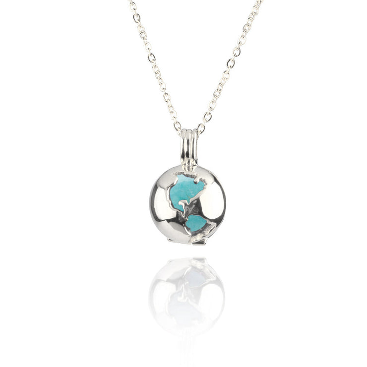 Globe Locket Turquoise Sterling Silver