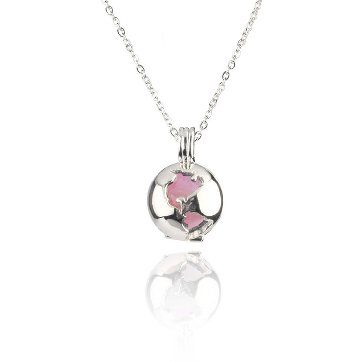 Globe Locket Rose Quartz Sterling Silver