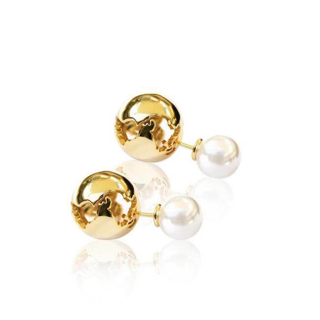 Globe Pearl Earrings by Cristina Ramella