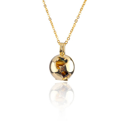 Tiger Eye Globe Locket by Cristina Ramella