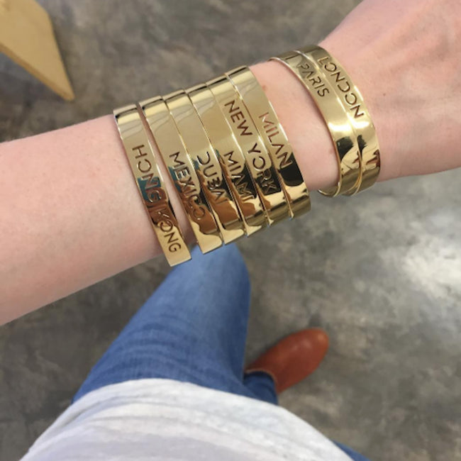 Wearing 24K Gold Plated London Bracelet Bangle by Cristina Ramella