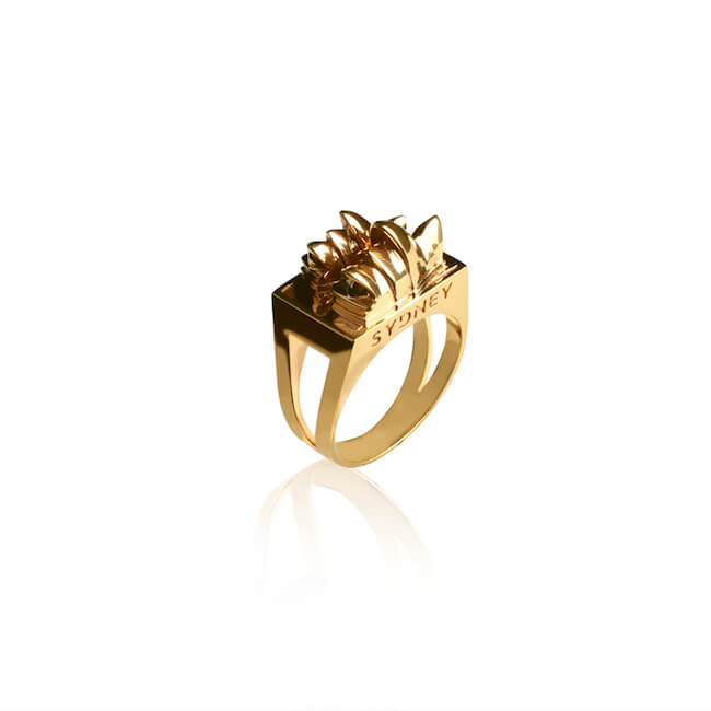 24K Gold Plated Sydney City Ring by Cristina Ramella