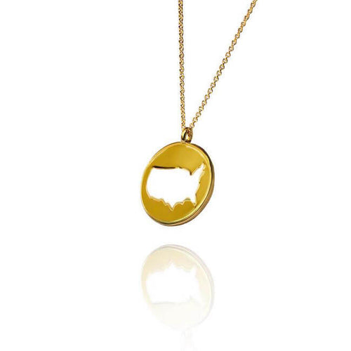 24K Gold Plated World USA Necklace by Cristina Ramella