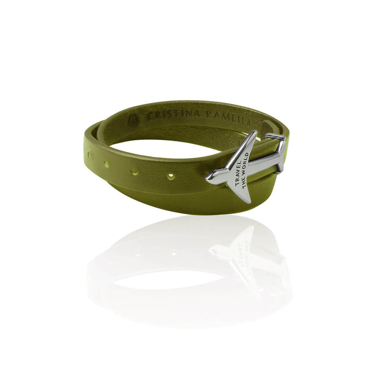 GREEN RHODIUM Airplane Leather Bracelet