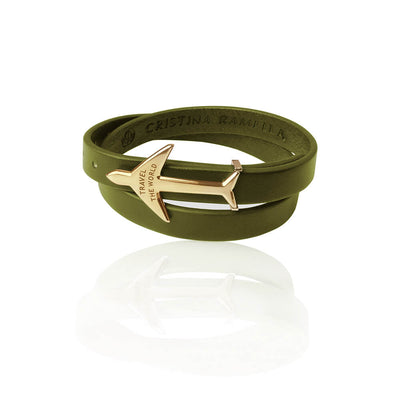 Green Gold Leather Bracelet by Cristina Ramella