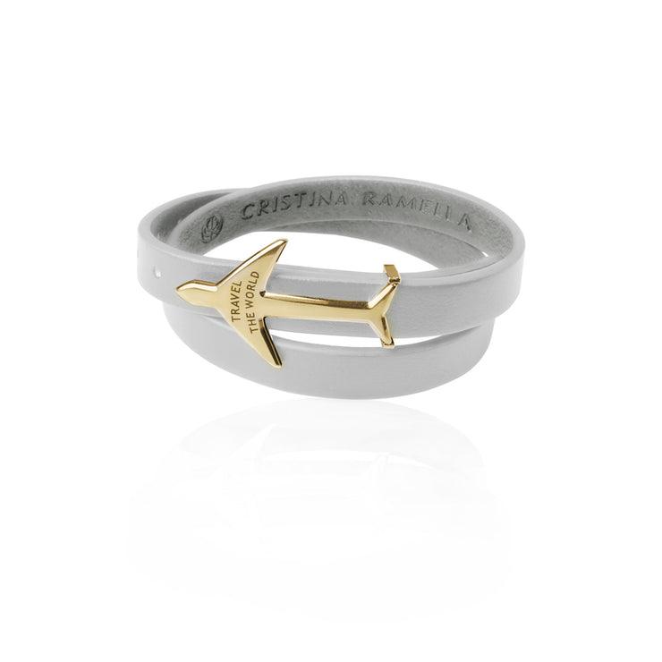 24K Gold Plated White Leather Wrap Airplane Bracelet by Cristina Ramella