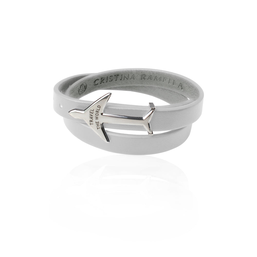 Rhodium Plated White Leather Wrap Airplane Bracelet by Cristina Ramella