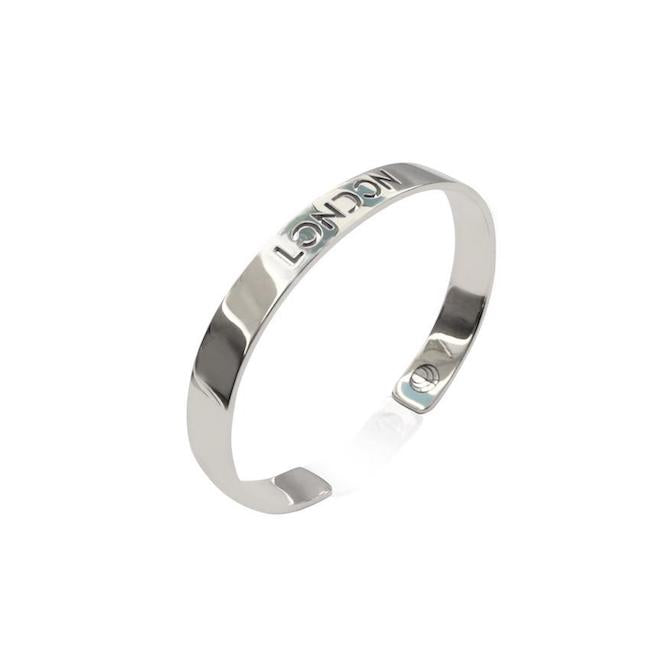 Rhodium Plated London Bracelet Bangle by Cristina Ramella