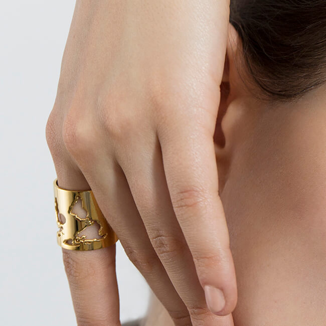 Sample 24K Gold Plated World Long Ring by Cristina Ramella