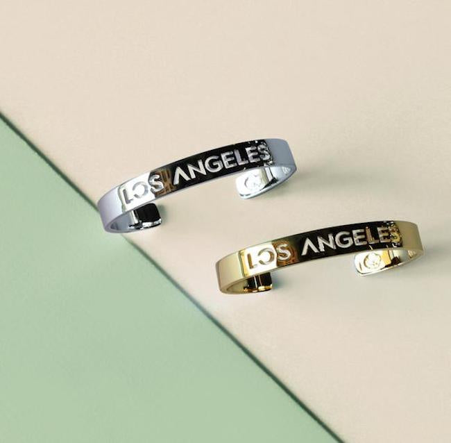 24K Gold and Rhodium Plated Los Angeles Bracelet Bangle by Cristina Ramella