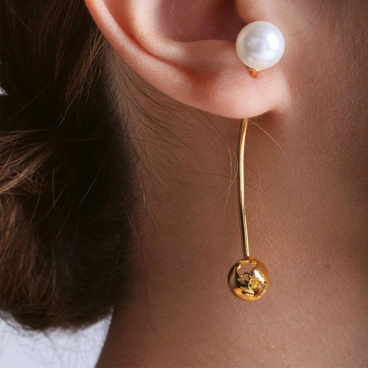 Wearing Luna Long Earrings by Cristina Ramella