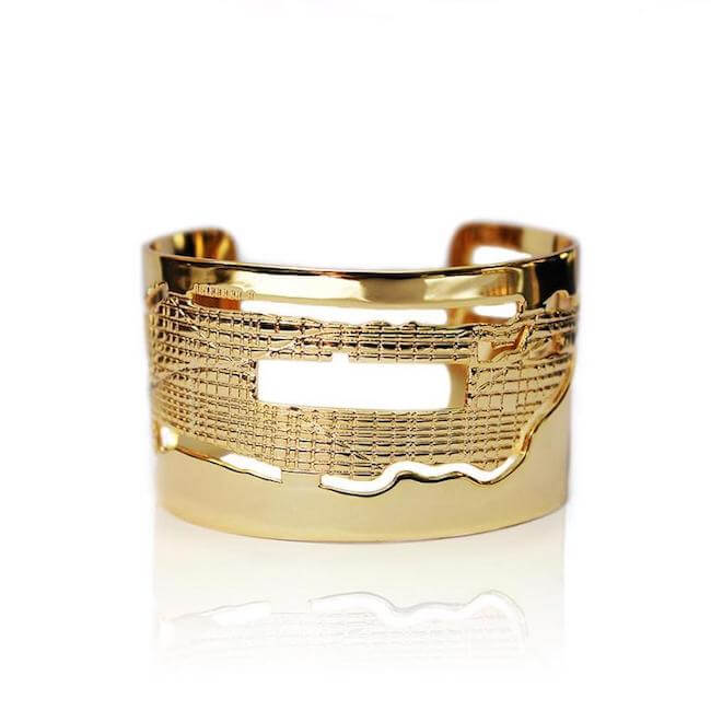 24K Gold Plated Manhattan Cuff by Cristina Ramella