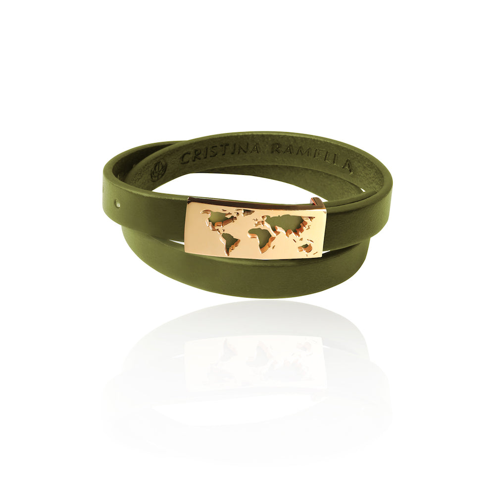Sample 24K Gold Plated Green Map Leather Bracelet by Cristina Ramella