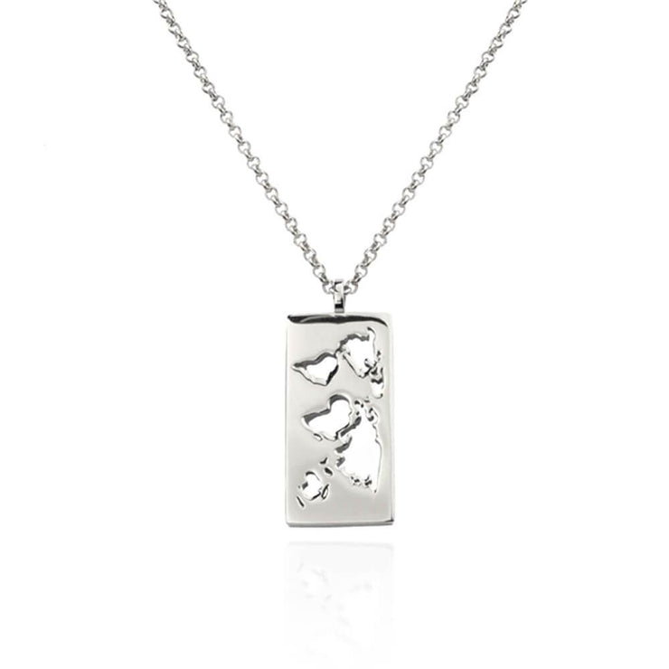 Rhodium Plated Map Chain Necklace by Cristina Ramella
