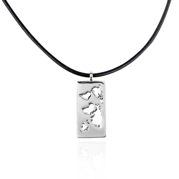 Rhodium Map Necklace by Cristina Ramella