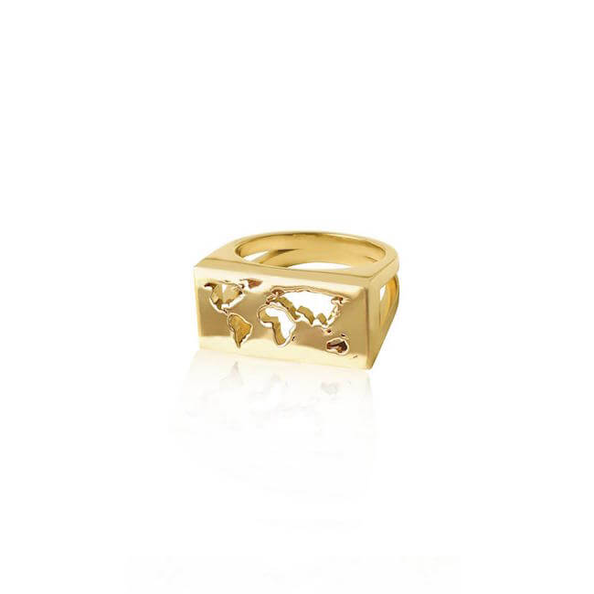 24K Gold Plated Map Ring by Cristina Ramella