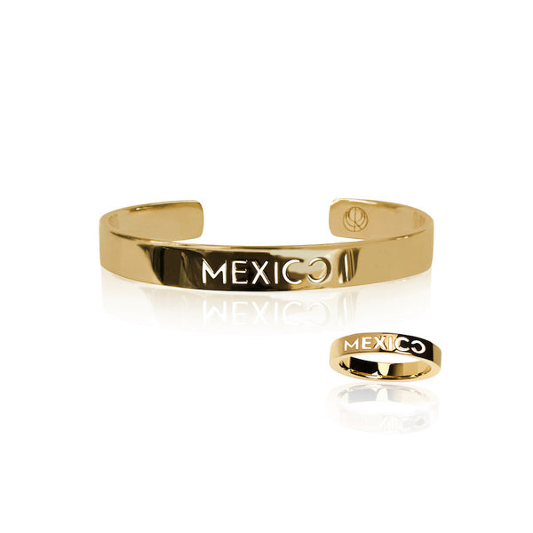 24K Gold Plated Mexico Bangle and Ring by Cristina Ramella