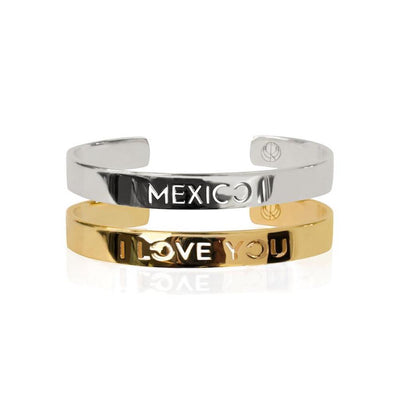 24K Gold Plated Mexico I Love You Bracelet Bangle by Cristina Ramella