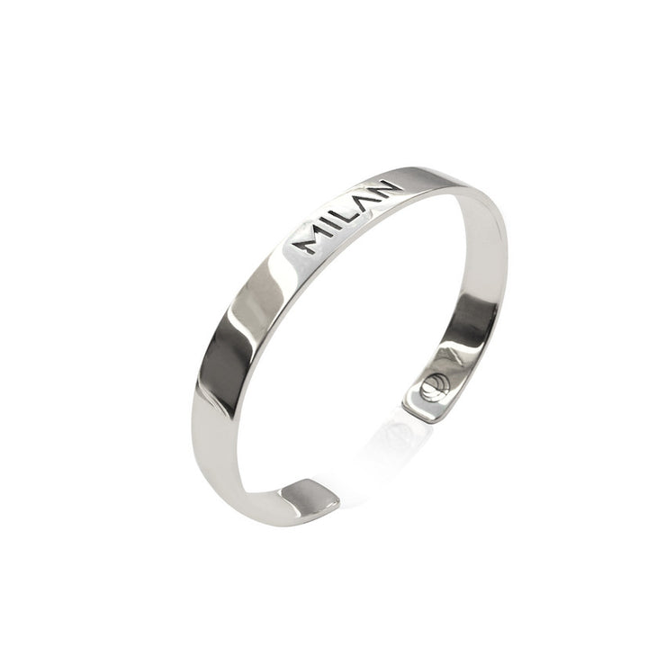 Rhodium Plated Milan Bracelet Bangle by Cristina Ramella