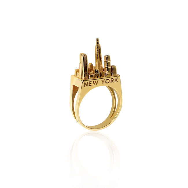 24K Gold Plated New York City Ring by Cristina Ramella