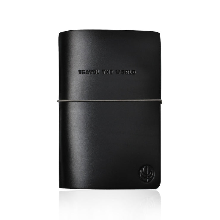 Travel The World Black Leather Notebook by Cristina Ramella