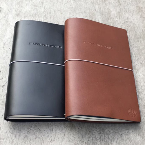 Black and Brown Leather Travel the World Notebook by Cristina Ramella