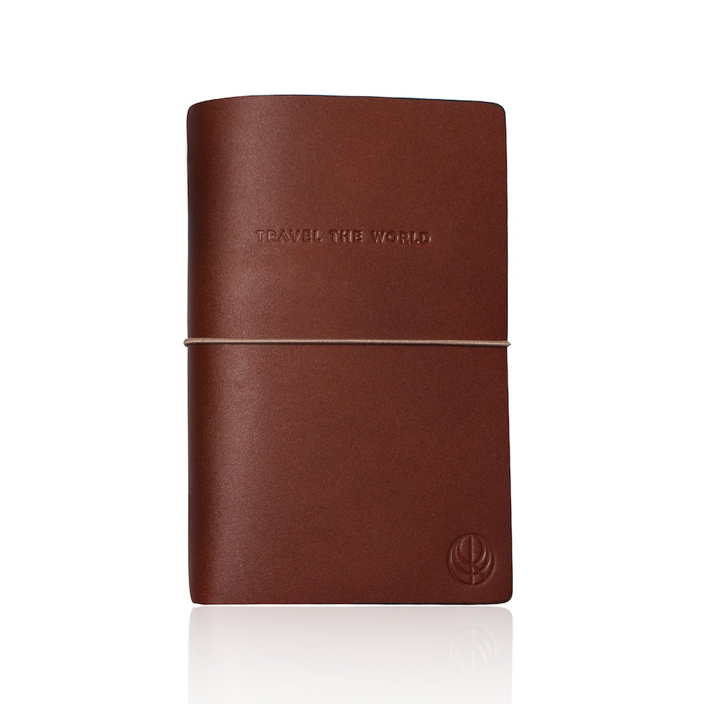 Travel The World Brown Leather Notebook by Cristina Ramella