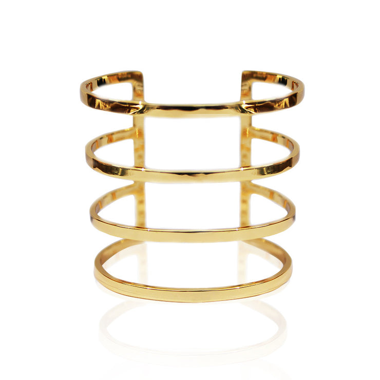 Sample 24K Gold Plated Parallel 4 Lines Cuff by Cristina Ramella