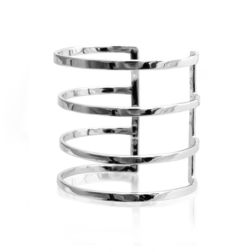 parallel lines cuff bracelet silver cristina ramella jewelry travel the world globetrotter