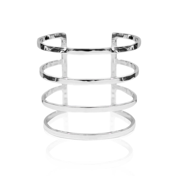 Sample Rhodium Plated Parallel 4 Lines Cuff by Cristina Ramella