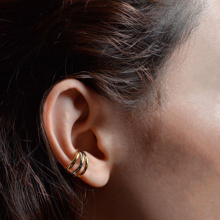Wearing Earcuff Parallel by Cristina Ramella