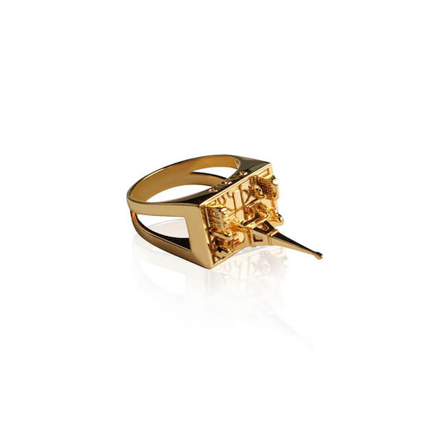 24K Gold Plated Paris City Ring by Cristina Ramella