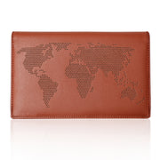 Microfiber Synthetic Leather Brown Passport Holder