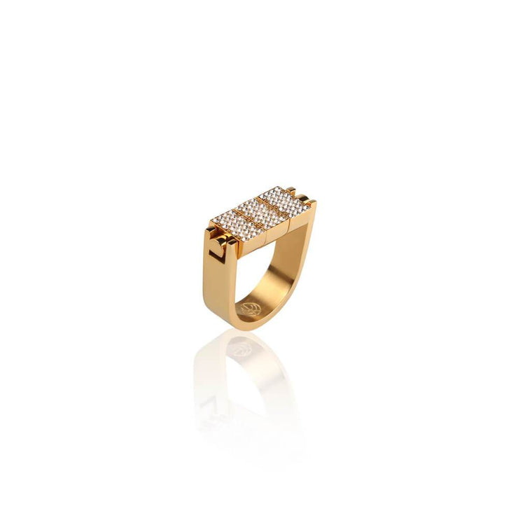 Pave Gold Bricks Ring by Cristina Ramella