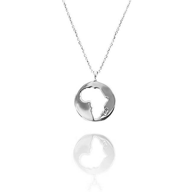 Rhodium Plated World Africa Necklace by Cristina Ramella