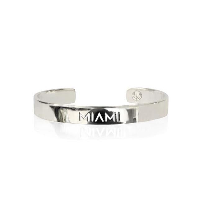 Rhodium Plated Miami Bracelet Bangle by Cristina Ramella