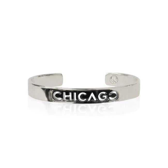 Rhodium Plated Chicago Bangle by Cristina Ramella