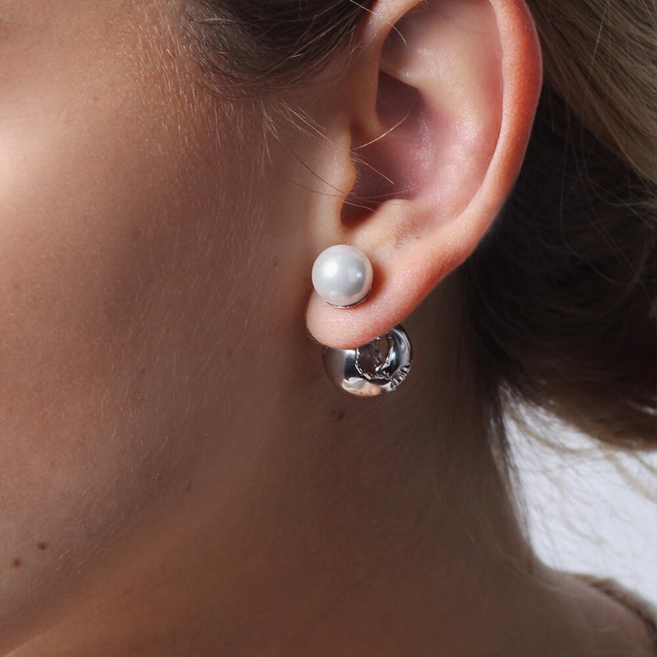Rhodium Globe Pearl Earrings by Cristina Ramella
