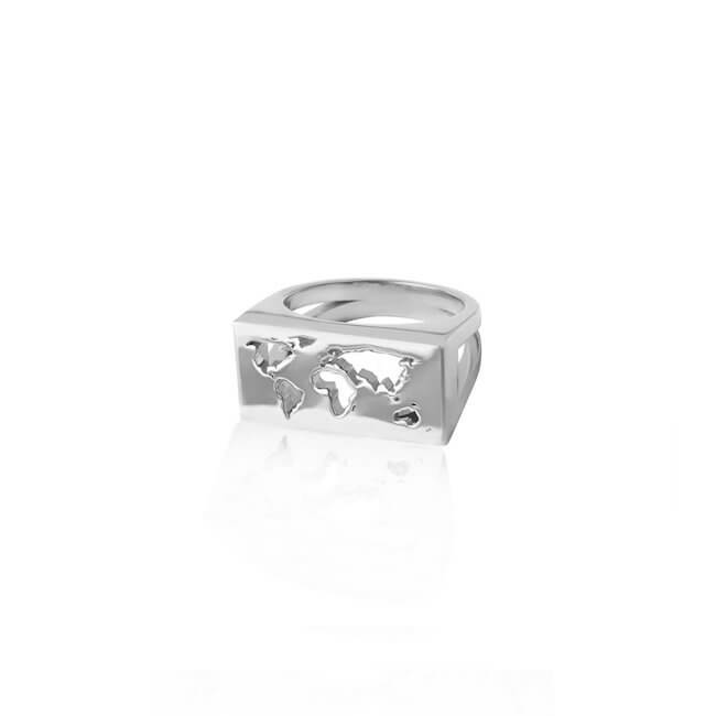 Rhodium Plated Map Ring