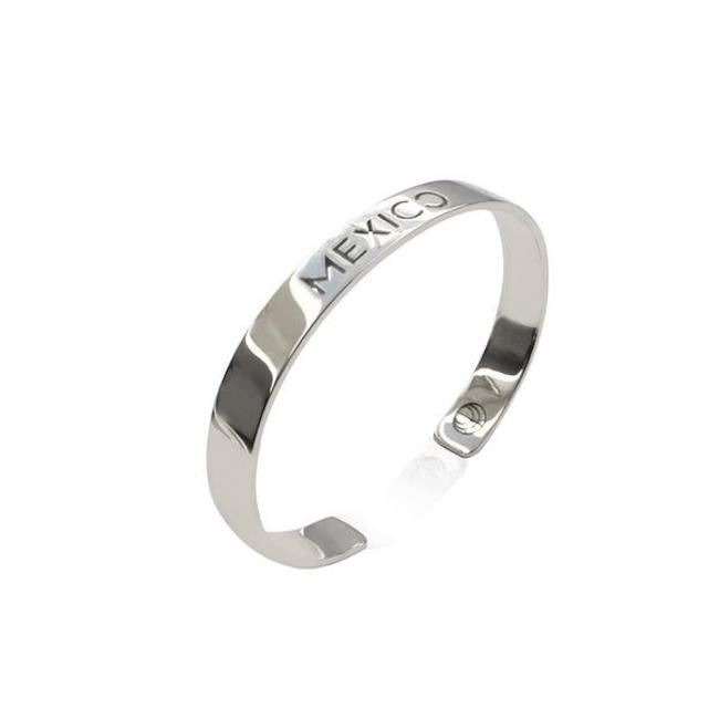 Rhodium Plated Mexico Bracelet Bangle by Cristina Ramella