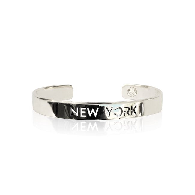 Rhodium Plated New York Bracelet Bangle by Cristina Ramella