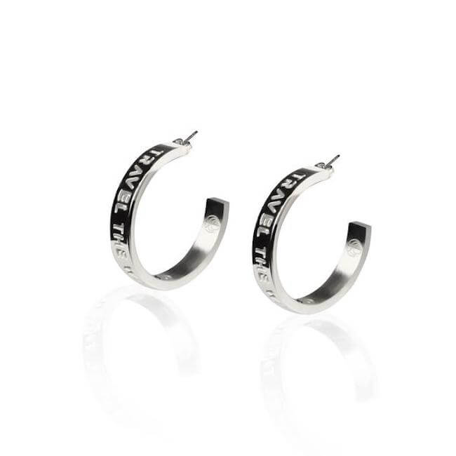 Rhodium Plated Medium Travel The World Hoops by Cristina Ramella
