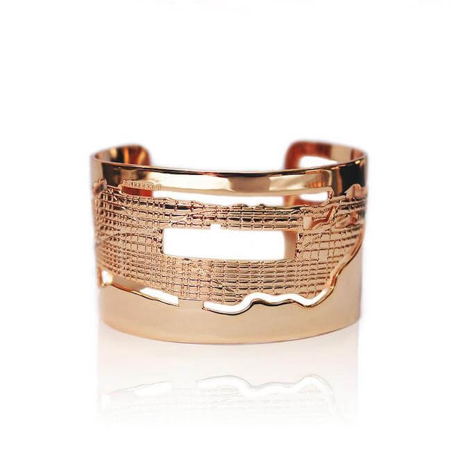 24K Rose Gold Plated Manhattan Cuff by Cristina Ramella