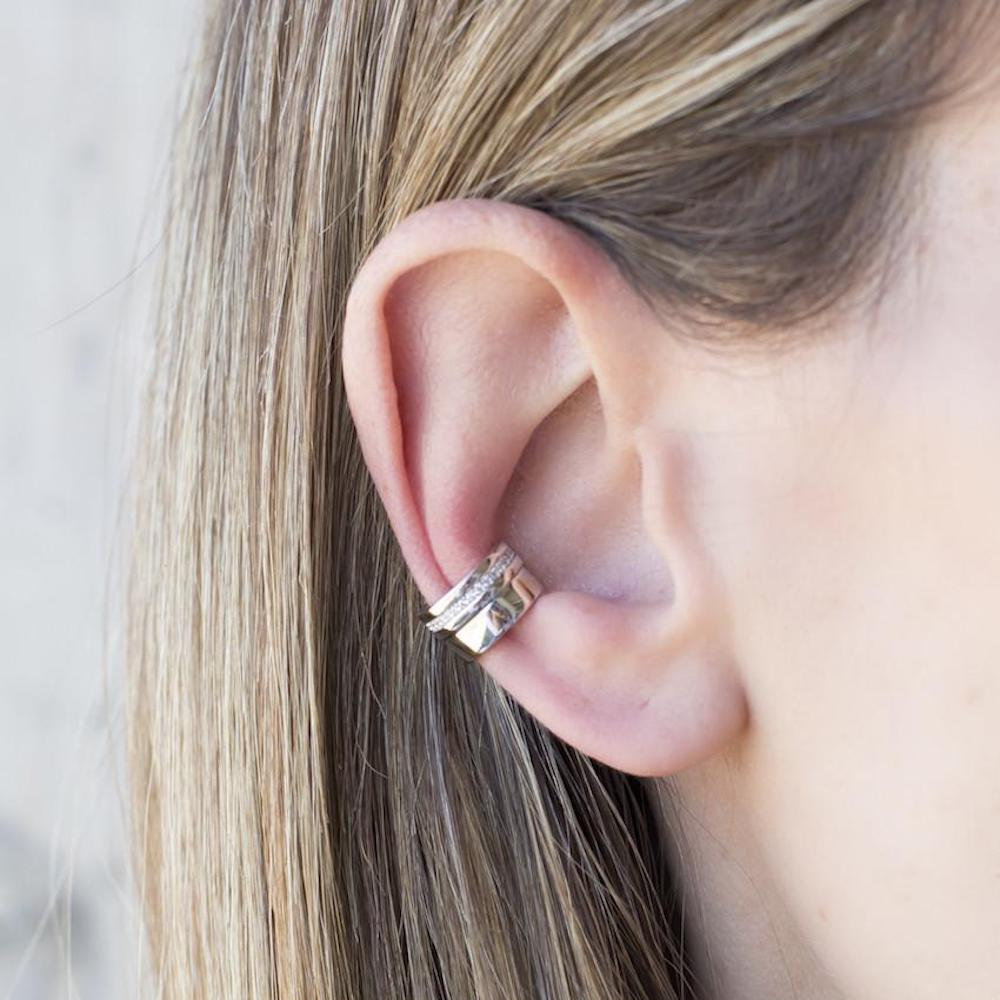 Rhodium Plated double parallel earcuff by Cristina Ramella
