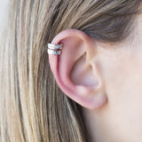 Rhodium Plated Wearing Double Stack Earcuff Pave by Cristina Ramella