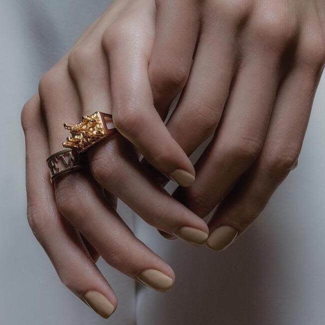 Sample 24K Gold Plated New York Ring by Cristina Ramella